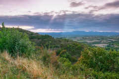 Panorama of a valley in the Ardeche with in the background the m Stock Photography