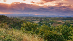 Panorama of a valley in the Ardeche with in the background the m Stock Image