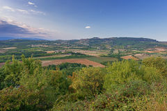 Panorama of a valley in the Ardeche with in the background the m Royalty Free Stock Image
