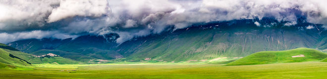 Panorama of Valley in Castelluccio, Italy Stock Photography