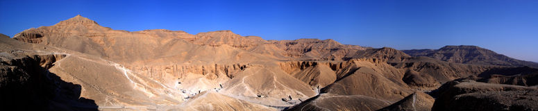 Panorama of the Valley of the Kings - Luxor, Egypt. Stitched panorama of the Valley of the Kings - Luxor - Egypt Royalty Free Stock Photography