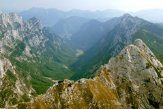 Panorama of valley krma-mountains  from air Stock Photo