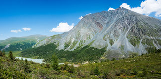 Panorama of the valley lake Akkem Royalty Free Stock Images