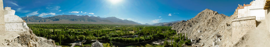 Panorama with valley and mountains Royalty Free Stock Photo
