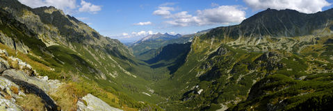 Panorama of valley Roztoki in Tatra Mountains. Stock Photos