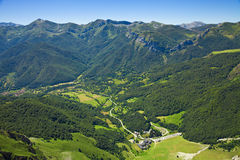 Panorama of the valley seen from Fuente De Royalty Free Stock Image