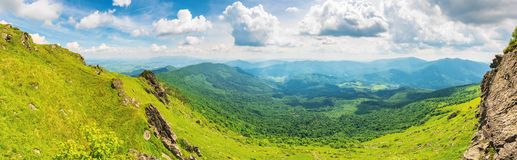Panorama of a valley in summer stock photos