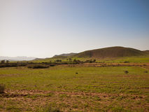 Panorama of the valley to the mountain Stock Image