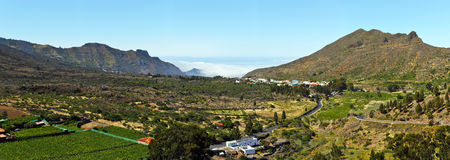 Panorama of Valley via Puerto Santiago in western Tenerife Islan. Panorama of Valley via Tanaimo village in Puerto Santiago direction of western Tenerife Island Royalty Free Stock Image