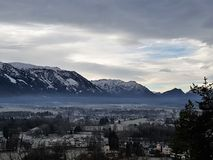 View of villages and mountains. Panorama of valley with villages Stock Photo