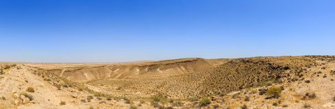 Panorama of valleys in the mountains in the Negev desert Stock Image