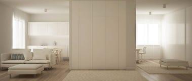 Panorama van één ruimteflat, keuken, woonkamer en huiswerkplaats Parketvloer, zacht tapijtbont, en minimalistisch royalty-vrije illustratie