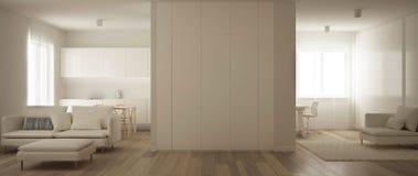 Panorama van één ruimteflat, keuken, woonkamer en huiswerkplaats Parketvloer, zacht tapijtbont, en minimalistisch stock illustratie