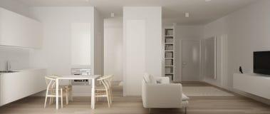 Panorama van één ruimteflat, minimalistische witte kleine keuken met parketvloer en eettafel en bank, binnenlands ontwerp vector illustratie