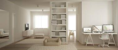 Panorama van één ruimteflat, woonkamer en huiswerkplaats, hondbed en tapijtbont Parketvloer, minimalistisch wit royalty-vrije illustratie