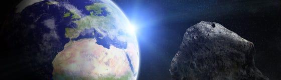 Panorama van aarde met asteroïden die dichte 3D vliegen aangaande Royalty-vrije Stock Afbeeldingen