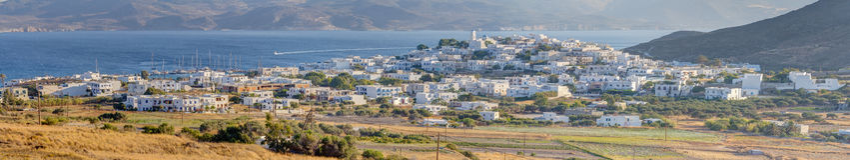 Panorama van Adamantas, Milos eiland, Griekenland Stock Fotografie