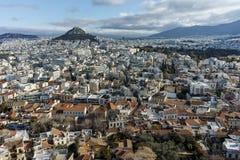 Panorama van Akropolis aan stad van Athene, Attica royalty-vrije stock afbeelding