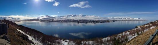 Panorama van Akureyri Royalty-vrije Stock Foto