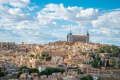 Panorama van Alcazar van Toledo, dichtbij Madrid, Spanje Stock Foto's