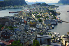 Panorama van Alesund, Noorwegen Stock Afbeelding