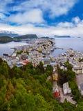 Panorama van Alesund Noorwegen Stock Afbeeldingen