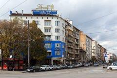 Panorama van Algemeen Mihail Skobelev Boulevard in Sofia, Bulgarije Stock Afbeeldingen