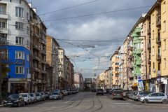 Panorama van Algemeen Mihail Skobelev Boulevard in Sofia, Bulgarije Stock Foto