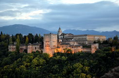 Panorama van Alhambra paleis, Granada, Spanje Stock Fotografie