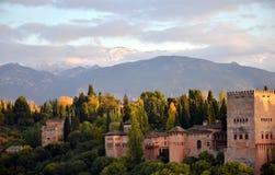 Panorama van Alhambra paleis, Granada, Spanje Royalty-vrije Stock Foto