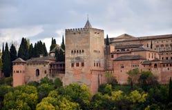 Panorama van Alhambra paleis, Granada, Spanje Royalty-vrije Stock Afbeelding