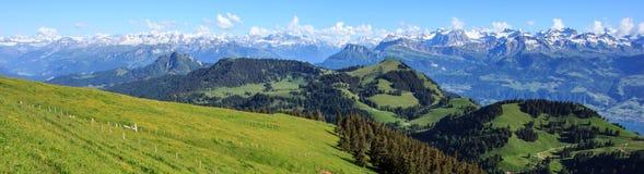 Panorama van Alpen vanaf de bovenkant van Rigi Kulm, Zwitserland stock foto's