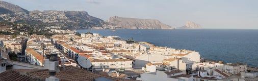 Panorama van Altea, Spanje Stock Fotografie