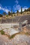 Panorama van Amphitheatre in Oude Griekse archeologische plaats van Delphi, Griekenland Royalty-vrije Stock Fotografie