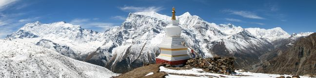 Panorama van Annapurna-waaier royalty-vrije stock afbeelding