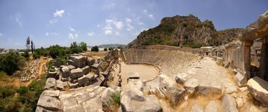 Panorama van antiek Grieks-roman theater Royalty-vrije Stock Foto