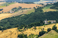 Panorama van Arcevia Stock Foto