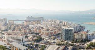 Panorama van architectuur in Gibraltar, Brits Overzee Grondgebied royalty-vrije stock foto
