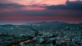 Panorama van Athene bij zonsondergang Mooie cityscape stock footage