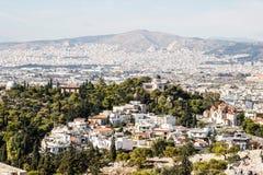 Panorama van Athene van de Akropolis stock foto's