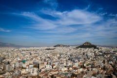 Panorama van Athene van de Akropolis royalty-vrije stock afbeeldingen