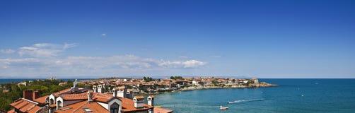 Panorama van baai in Sozopol, Bulgarije. Mening over de Zwarte Zee Stock Foto