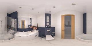 panorama 360 van badkamers binnenlands ontwerp Stock Afbeeldingen