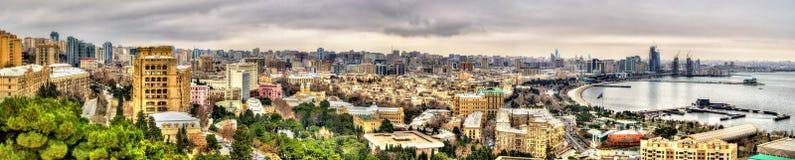 Panorama van Baku stad stock foto's