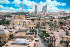 Panorama van Baku stad, Azerbeidzjan royalty-vrije stock foto