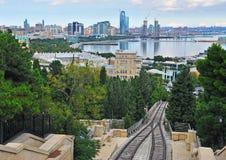 Panorama van Baku stad, hoofdstad van Azerbeidzjan Stock Fotografie