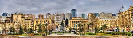 Panorama van Baku van de Winterpark royalty-vrije stock foto's