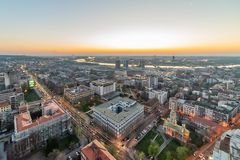 Panorama van Belgrado stock afbeeldingen