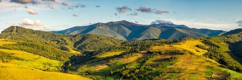 Panorama van bergachtig plattelandsgebied in de herfst stock foto