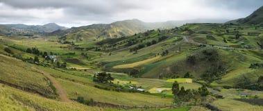 Panorama van bergen en weiden stock fotografie